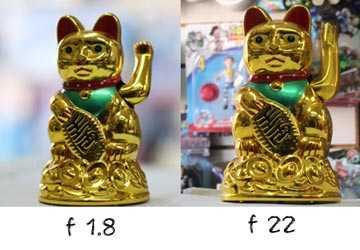 IMAGEN nítida, profundidad de campo, comparación de dos diafragmas distintos f 1.8 y f 22