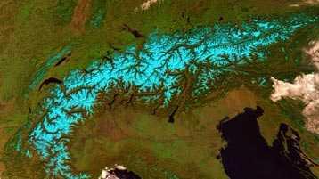 Espectro de Luz Visible, imagen infrarrojo, nieve, vegetación y relieve de los alpes suizos