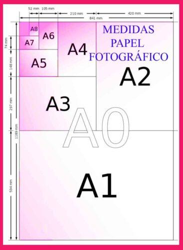 Tamaño y Medidas de papel fotográfico, hoja, rollo medida pulgadas , cuanto mide en centímetros, grandes, impresas normal